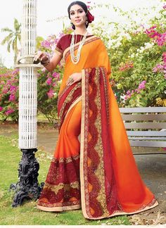 Shop Online Orange Red Satin Chiffon #PartyWearSarees @Chennaistore.com Party Wear Sarees Online, Ethnic Wedding, Bollywood Party, Latest Sarees, Work Party, Red Satin, Kids Online, Indian Ethnic, Orange Red