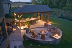 Overview of outdoor living space at night