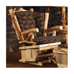 MountainWoodsFurniture Aspen Heirloom Twig Art Glider Finish: Bronze Aspen, Fabric Color: Buckshot