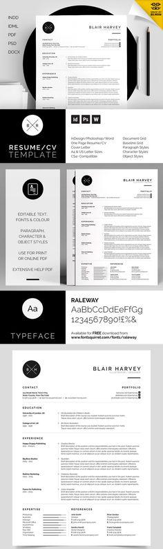 Job hunting Blair - Branded Minimal Resume Template Set - CV - Resume - Free Cover Letter - Professional Resume Template.