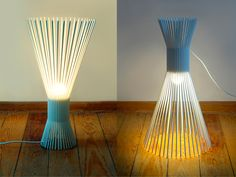 simple, white, openwork lamp made of varnished steel wire