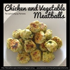 Chicken and Vegetable Meatballs By: The road to loving my Thermomix 1/2 onion, peeled 1 garlic clove, peeled 1/2 medium carrot, roughly chopped 1/2 medium zucchini, roughly chopped 25g baby spinach leaves A pinch of parsley 1 tablespoon vegetable stock concentrate 1 large chicken breast, chopped into 4 pieces