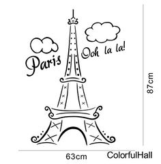 Paris Oh Lala Eiffle Tower Wall Decals Wall Stickers Decals DIY Vinyl Removable Large Wall Mural Decor Art for Teen Boys Girls Kids Children Bedroom Living Room Baby Nursery Home Decorations ColorfulHall http://www.amazon.com/dp/B00RQ6JH78/ref=cm_sw_r_pi_dp_C-.Jvb19GTA70