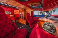 The incredibly versatile custom van is a symbol of adventure, leisure and independence, and it became the ultimate blank canvas for self-expression. Custom Van Interior, Bus Interior, Chevrolet Van, Chevy Van, Dodge Durango Interior, Chevy Astro Van, Old School Vans, Mens Vans Shoes, Vans Men