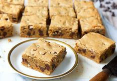 Chewy, dense, moist brown sugar bars, packed with chocolate chips.