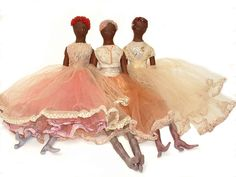 3 handmade dolls by Cozbi Cabrera called the Dulce group.