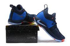 55a0542525a Nike PG 2 Paul George OKC Home Dark Obsidian Silver Men s Basketball Shoes  Paul George Okc