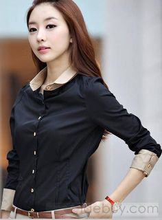 Deluxe OL Style Korean Style Color Block Slim Long Sleeve Shirt : Tidebuy.com