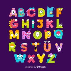 Pack of colorful animal letters Vector Alphabet For Kids, Alphabet And Numbers, Classe Dojo, Bubble Letter Fonts, Animal Letters, Monsters Inc, Monster Party, Cute Halloween, Halloween Vector