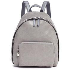 Stella Mccartney 'Falabella' small shaggy deer backpack ($1,045) ❤ liked on Polyvore featuring bags, backpacks, grey, rucksack bag, vegan leather backpack, chain bag, stella mccartney backpack and gray bag
