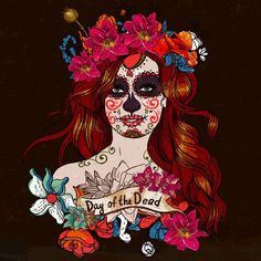 Day of the Dead Woman Roses 3.5 inch Sticker Vinyl Decal Stickers die cut