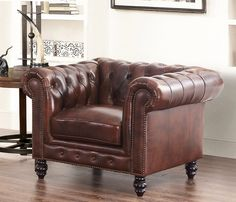 Grand Chesterfield Top Grain Leather Arm Chair