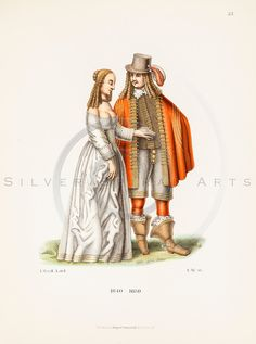Beautifully aged 1800s antique medieval man and woman chromolithograph print from COSTUMES, ARMOR, & ART by Dr. Von Hefner, published in Frankfurt, Germany.  The natural patina, age-toning, imperfections, and old paper antiquing of this vintage 19th century illustration are preserved in this image.