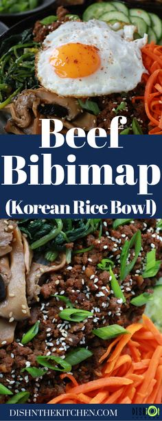 Beef Bibimbap is a quick and easy Korean rice bowl mixed with assorted vegetables, savoury banchan, sweet spicy beef, all topped with an egg. It's the perfect meal for busy weeknights. #bibimbap #ricebowl #Korean Tasty Dishes, Food Dishes, Healthy Dinner Recipes, Drink Recipes, Delicious Recipes, Easy Weeknight Dinners, Easy Meals, Korean Rice, Healthy Crockpot Recipes
