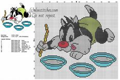 Baby Sylvester Cat Looney Tunes cartoon character free cross stitch pattern
