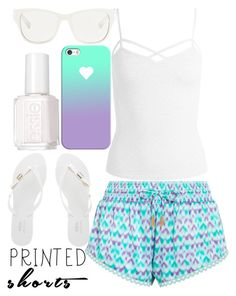 """""""shorts with prints..."""" by j-n-a ❤ liked on Polyvore featuring Paloma Blue, Sans Souci, Melissa, 3.1 Phillip Lim, Casetify, Essie and printedshorts"""