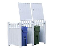 """RubbishWrap Outdoor Garbage Enclosure - Trash Bin Shed Storage - Double Unit > Hides two largest USA 96 gallon bins """"Simple Snap"""" modular design allows for five minute set up and Multi Bins Configuration Paintable panels, wind, UV and mold resistant Hide Trash Cans, Outdoor Trash Cans, Trash Bins, Recycling Storage, Trash And Recycling Bin, Shed Storage, Garbage Can Storage, Garbage Shed, Garbage Truck"""