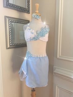 2 Piece Custom Lyrical Dance CostumeLight Blue and White