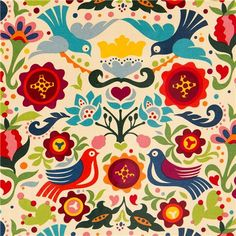 beige doves and flowers laminate fabric by Alexander Henry 1