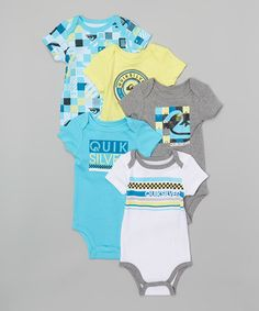 Another great find on #zulily! Navy & Gray Assorted 5-Piece Bodysuit Set - Infant #zulilyfinds