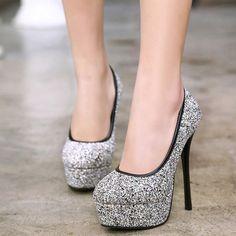 Sexy Super High-heeled Round Toe Platform Sequins Pumps #womenfashion #popular #beauty High Heels For Prom, Prom Heels, Black High Heels, High Heels Stilettos, High Heel Boots, Stiletto Heels, Shoes Heels, Classy Heels, Wedding Heels