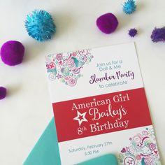 Custom American Girl birthday invite.