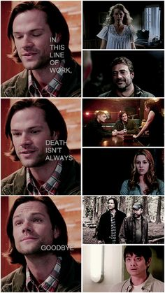 In this world, death doesn't always mean goodbye either. Winchester Supernatural, Supernatural Quotes, Supernatural Tv Show, Winchester Boys, Winchester Brothers, Emmanuelle Vaugier, The Cw Shows, Angels And Demons, Super Natural