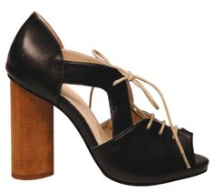 https://www.cityblis.com/6017/item/4251 | Piper - black baby calf leather -  by Tom Gunn | Lace up high heel with hand carved wooden heel, upper made of black baby calf leather, kidskin leather lining and leather sole. Heel height 11cm, platform 1.2cm.  | #Flats/Casual