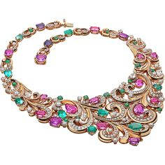 Ruby And Diamond Necklace, Diamond Jewelry, High Jewelry, Jewelry Necklaces, Bulgari Jewelry, Saphir Rose, Purple Sapphire, Schmuck Design, Stone Necklace