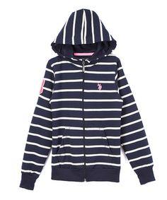 Look what I found on #zulily! Navy Stripe Hoodie - Girls #zulilyfinds