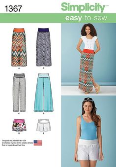 Misses Slim Maxi Skirt, Trousers and Shorts Simplicity Pattern 1367.