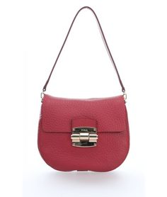 Furla Club Shoulder Bag grained calfskin ruby red - BHS4-QUB-RBN - Designer Bags Shop - wardow.com