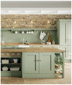 Sage Green Kitchen, Green Kitchen Decor, Green Kitchen Cabinets, Kitchen Colors, Home Decor Kitchen, Home Kitchens, Kitchen Ideas, Green Country Kitchen, Country Style Kitchens