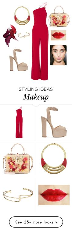 """Red stain"" by styleparty on Polyvore featuring Cushnie Et Ochs, Givenchy, Dolce&Gabbana and Giuseppe Zanotti"