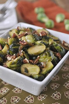 Caramelized Brussel Sprouts with Toasted Pecans - the perfect side dish for your Holiday menu!