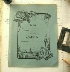 Vintage French notebook  Unused school notebook from France