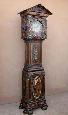 """Adirondack grandfather clock fabricated w/ lodge pole pine, willow twigs, hand carved Tramp art & arrowhead details & featuring a hand painted Indian """"Princess"""" plaque. 23 W x 89 H x 15 D Victorian Furniture, Rustic Furniture, Antique Furniture, Painted Furniture, Unique Clocks, Cool Clocks, Old Hickory, Clock Shop, Wooden Clock"""