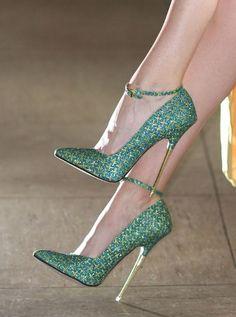 Glitter Green Gold Metallic Heel Pumps - Peter Chu.