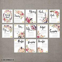 2016 Monthly Wall Calendar, 2016 Calendar, Watercolor Flower , Wall Calendar, Gift, Gifts for Her  (cal0001)