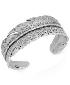 Lucky Brand Silver-Tone Feather Cuff Bracelet | macys.com