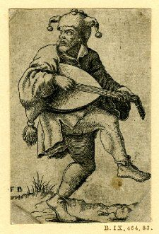 Fool with a lute dancing ; from a series of four engravings. by Franz Isaac Brun, 1555-1610. British Museum