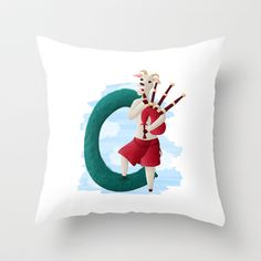 C comme chèvre Throw Pillow by Dinett illustration - $20.00