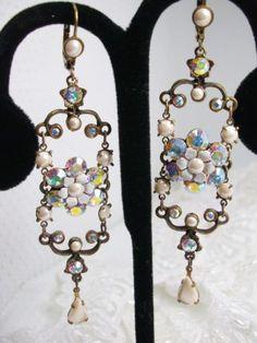 Michal-Negrin-Bridal-AB-Swarovski-elements-Long-Chandelier-Earrings-NEW