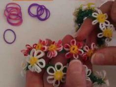 Wonderful DIY Rainbow Loom Daisy Flower Bracelet