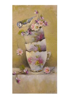 Bird,  flowers, bouquet, tea cups, limoges , daisies, violet -shabby chic - country chic , still life - Original oil  painting  Helen Flont