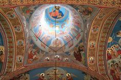 Romanian monasteries are on the UNESCO World Heritage List. Voroneț with its famous fresco of the Last Judgment painted on the west wall is done in a blue. The Last Judgment, 17th Century, Romania, Taj Mahal, World, Travel, Painting, Viajes, Painting Art