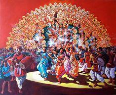 'Dhunuchi Dance' - Abhijit Banerjee - Acrylic on Canvas - x Krishna Hindu, Durga Puja, Kali Goddess, Goddess Art, Festival Paint, Durga Painting, Navratri Wishes, Dance Paintings, Indian Festivals