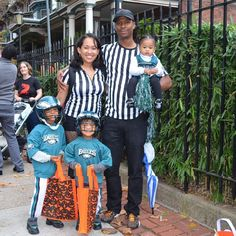 Huff Family on Halloween dressed as the players complete with and Football Player Halloween Costume, Cheerleader Costume, Family Halloween Costumes, Group Costumes, Halloween Dress, Football Cheerleaders, Football Players, Cheerleading, Summer Camp Packing