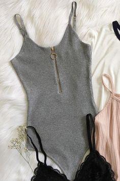 Wheretoget - Grey zipped bodysuit
