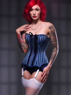 c549b20045 BESPOKE Nautical stripe overbust corset by valkyriecorsets on Etsy